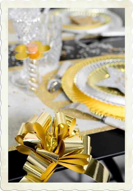 Automatik Ziehschleife in Gold, Dekoration Silvester