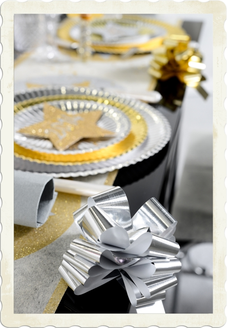Dekoration Silvester Automatik-Zierschleife Silber Metallic