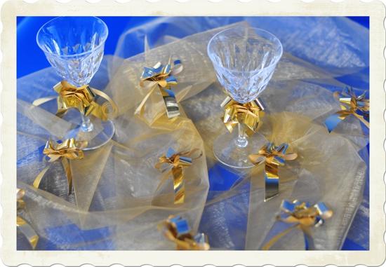 Mini Metallik Zierschleifen in Gold Tischdeko Silvester