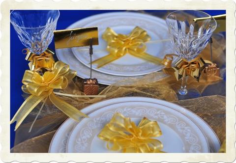 Zierschleifen Tischdekoration zu Silvester