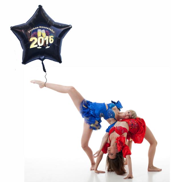 Dekoration Silvester Ballonsupermarkt, riesiger Sternballon, 2016, Feuerwerk, Champagner