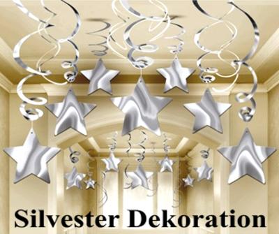 Dekoration Silvester, silberne Sterne, Wirbler